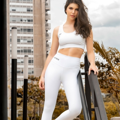 White Unicolor Leggings